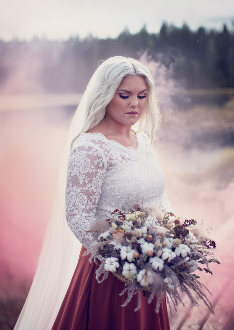 Brud i en rosa dimma