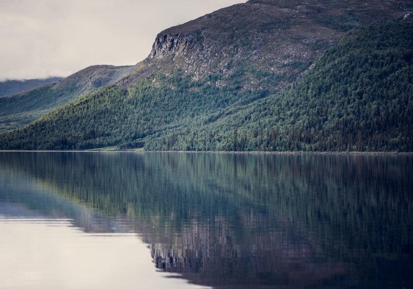 en stilla fjällsjö under sommaren